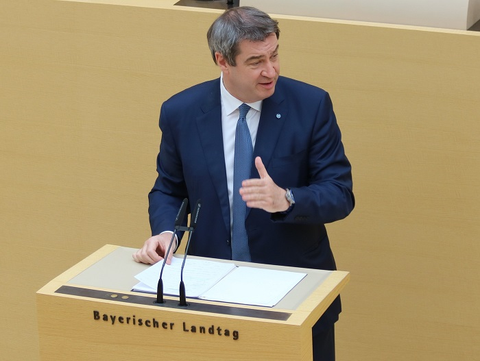 Markus Söder bei der zweiten Regierungserklärung zur Corona-Krise. Bild: CSU-Fraktion