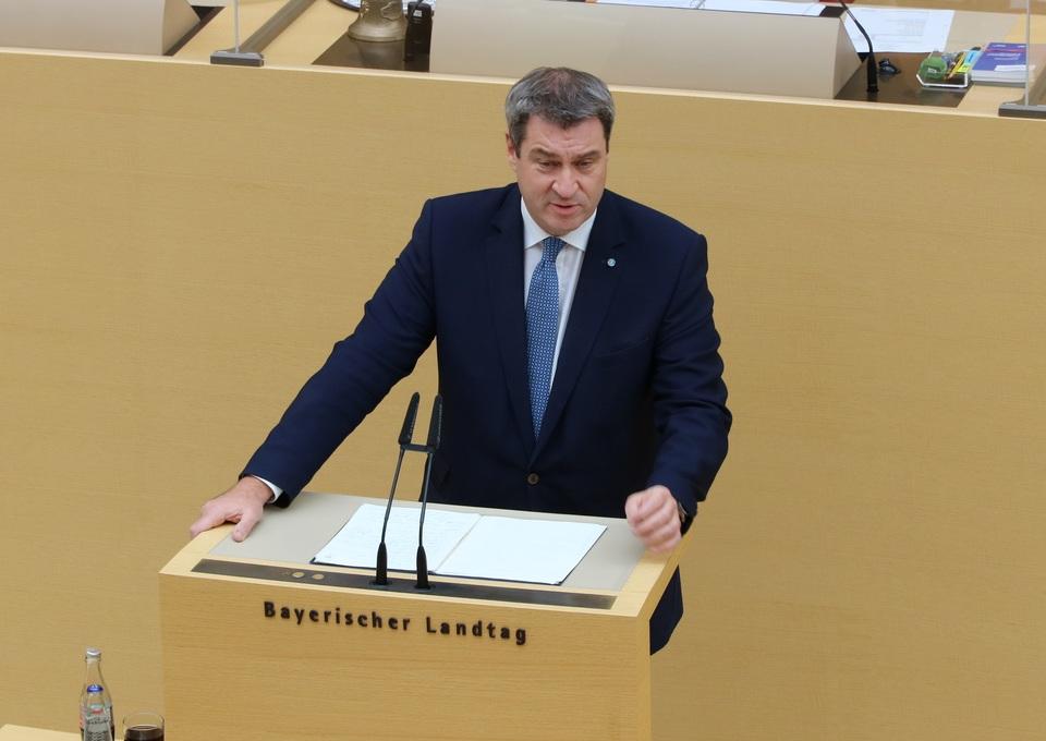Ministerpräsident Markus Söder während seiner Regierungserklärung. Foto: CSU-Fraktion